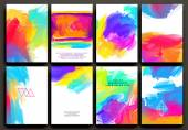 Fotografie Set of Templates with Watercolor Paint Splashes