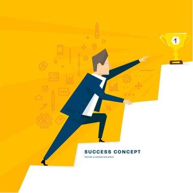 Businessman climbing to success