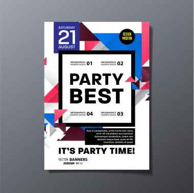 Disco Party Poster Template with geometric background - vector illustration clip art vector