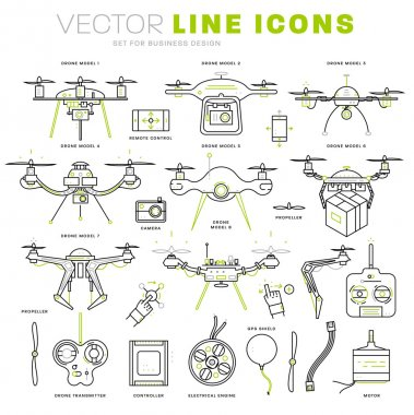 Aerial Drone icons set