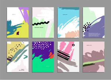 Set of Hand Drawn Universal Cards. Design for Flyers, Placards, Posters, Invitations, Brochures. Artistic Creative Templates. Abstract Modern Style stock vector