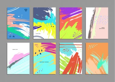 Set of Hand Drawn Universal Cards. Design for Flyers, Placards, Posters, Invitations, Brochures. Artistic Creative Templates. Abstract Modern Style clip art vector