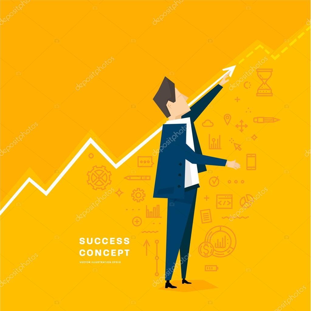 Businessman and business success concept