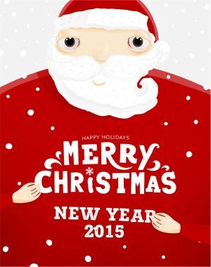 Santa Claus holding Christmas Label