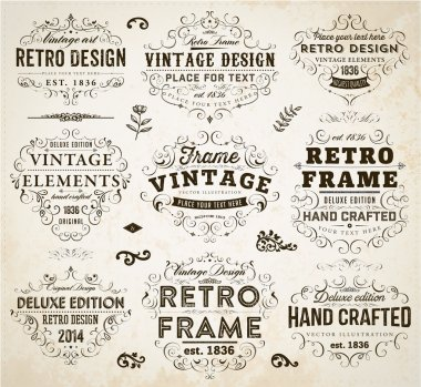 Set of Retro Vintage Insignias and Logotypes.