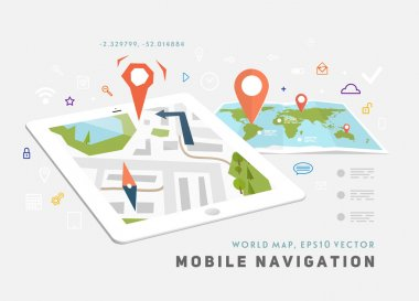 World Map and Mobile GPS Navigation.