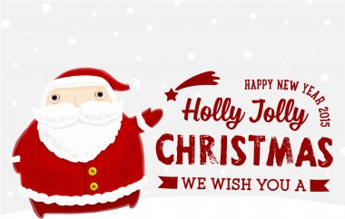 Santa Claus with Holly Christmas Label