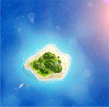 Island with Blue Ocean