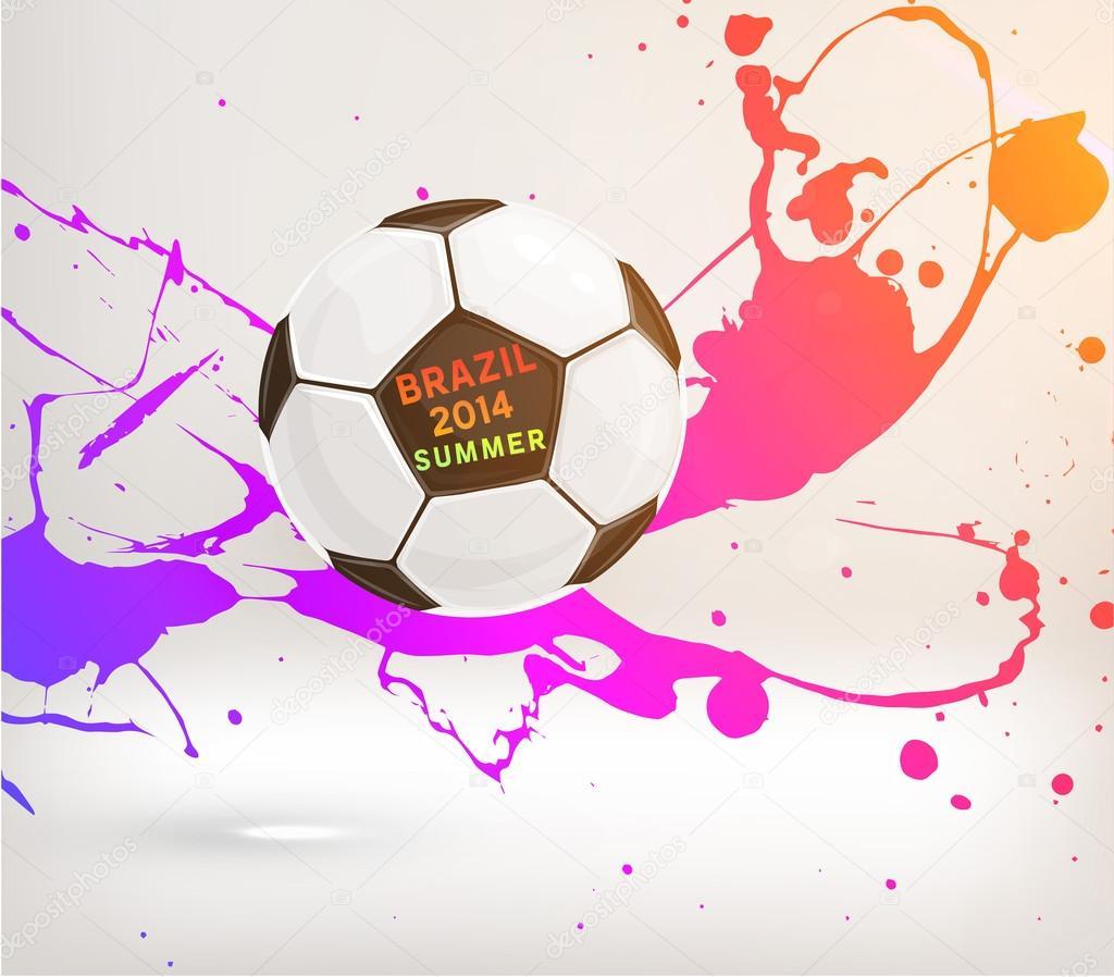 Futbol Topu Ve Boya Sıçraması Stok Vektör Ozerina 70414723