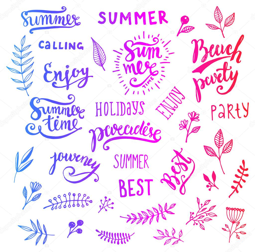 Summer Calligraphic Designs Set With Flowers Stock Vector