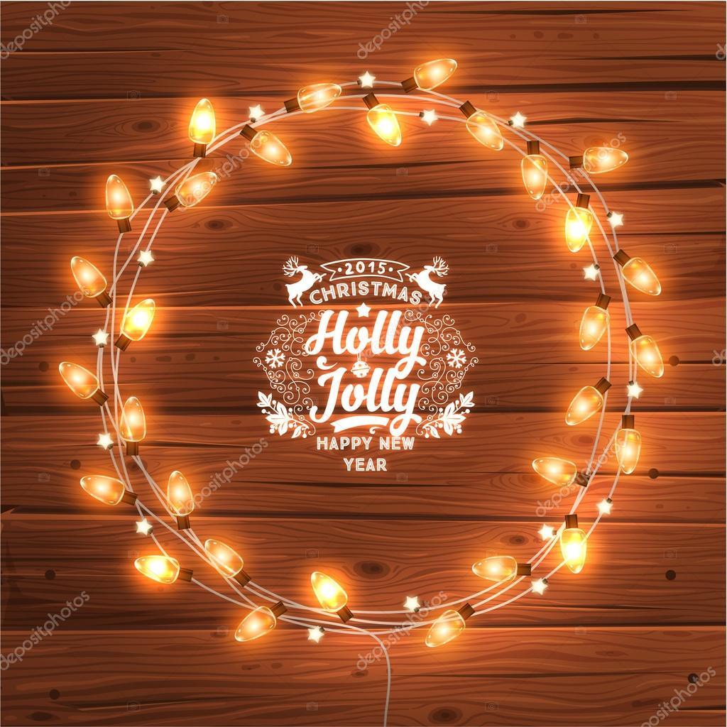 Glowing Christmas Lights Wreath — Stock Vector © Ozerina #70415239