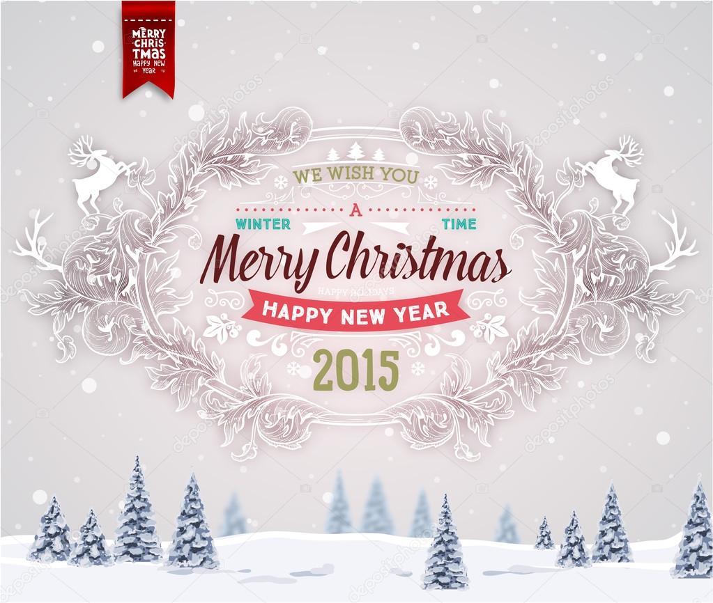 Gruß Weihnachtskarte mit Winterlandschaft — Stockvektor © Ozerina ...