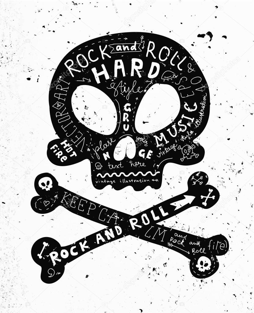 Vintage Label with Black Skull and Crossbones