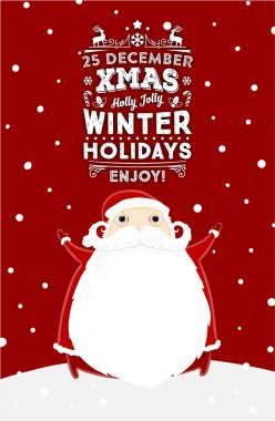 Santa Claus with Christmas Holidays Label