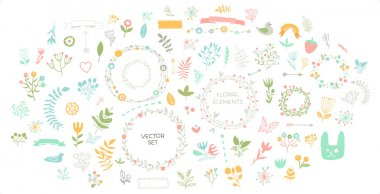 Set of Floral Decor. Vector Elements Collection with Leafs and Flowers for Greeting Cards, Flyers and Banners Design. clip art vector