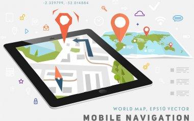 World Map and Mobile GPS Navigation.