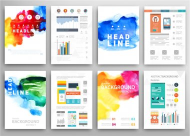 Set of Vector Poster Templates with Watercolor Paint Splash. Abstract Background for Business Documents, Flyers, Posters and Placards. stock vector