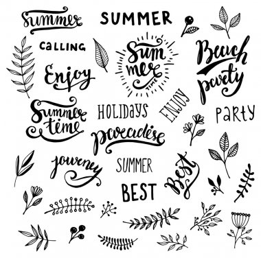 Summer Calligraphic Designs Set with Flowers