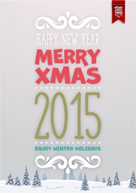 Christmas Greeting Card with Winter Landscape