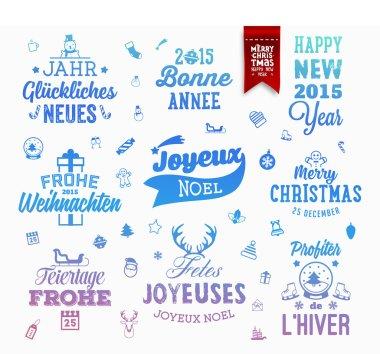 Christmas Decoration Set of Typographic Design.