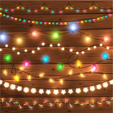 Set of Glowing Christmas Lights for Xmas Holiday Greeting Cards Design. Wooden Hand Drawn Background. Light Bulbs Collection. stock vector