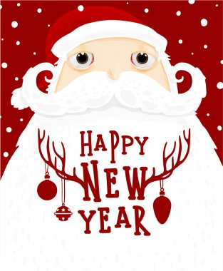 Santa Claus with New Year Label