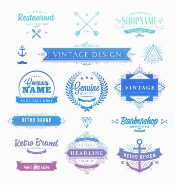 Set of Retro Vintage Insignias and Logotypes.
