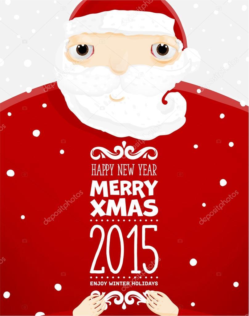 Santa Claus con etiquetas feliz Navidad — Vector de stock © Ozerina ...