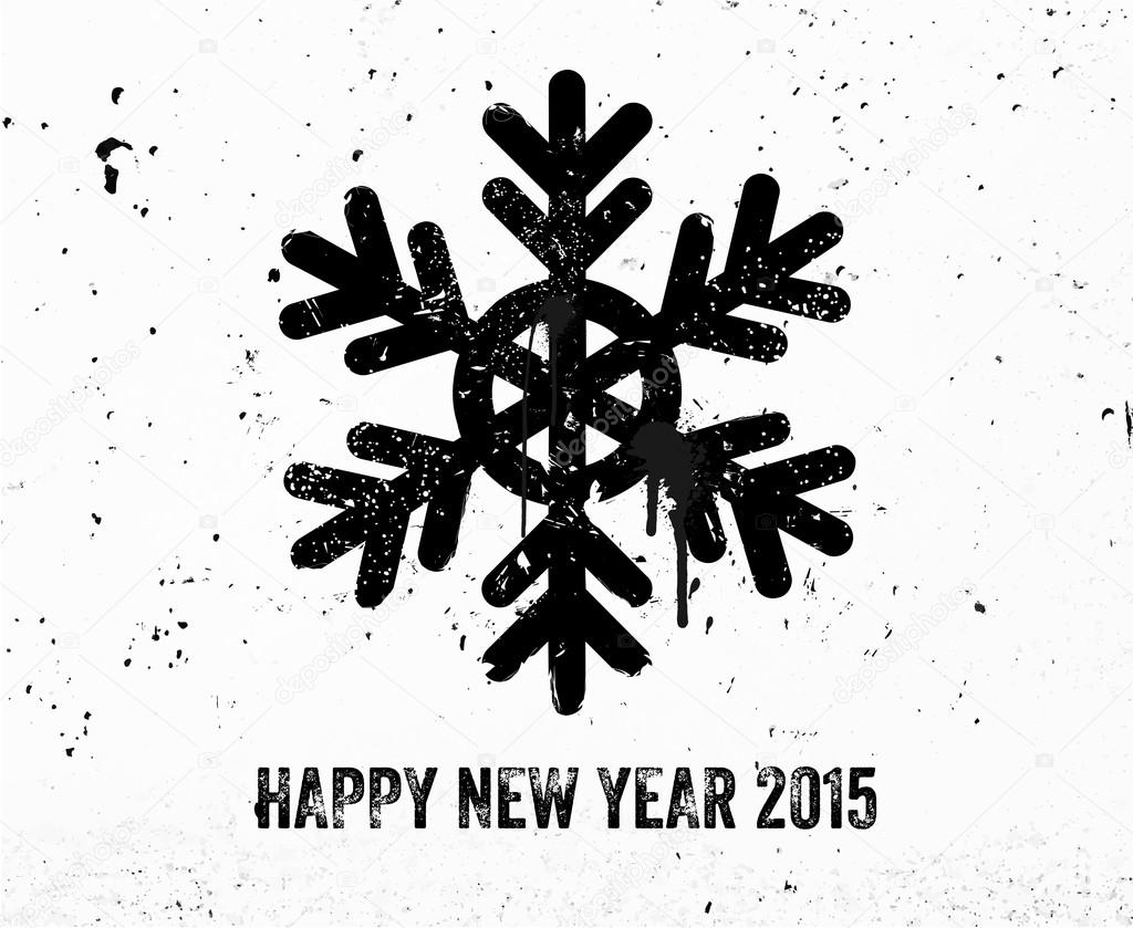 vintage new year graffiti label with snowflake stock vector