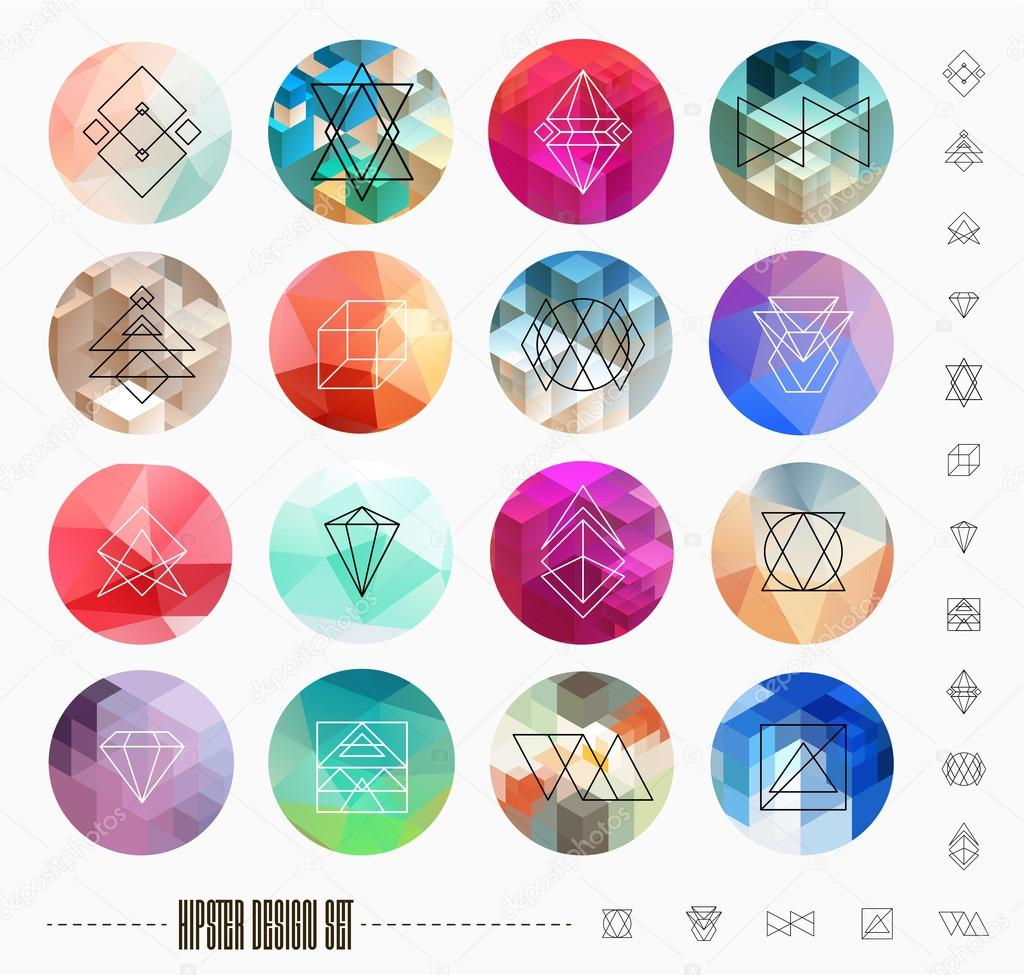 Set of Circle Labels with Geometric Logotypes
