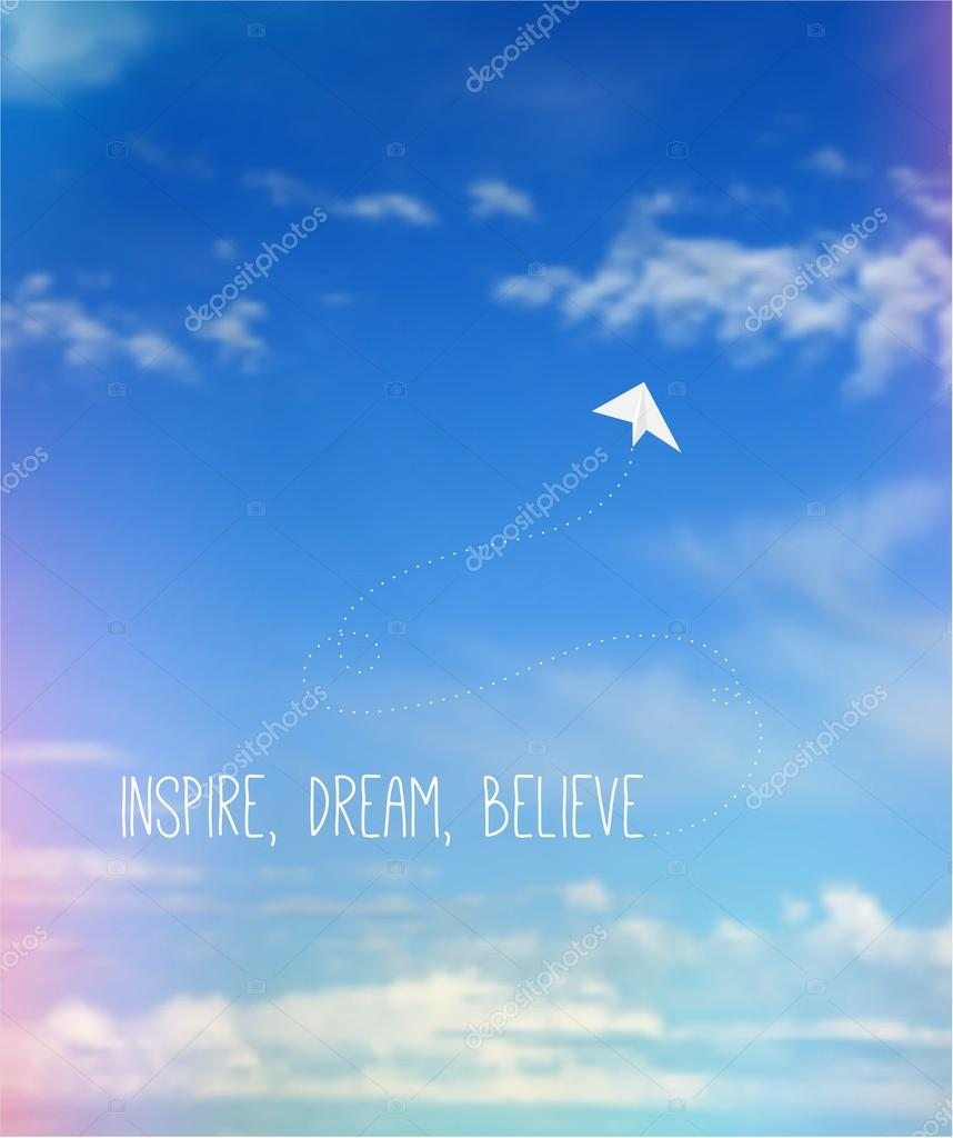 Sky With Clouds And Leaks Airplane And Quote Stock Vector