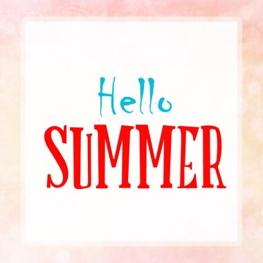 HELLO SUMMER on pink pastel poster background