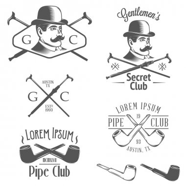 Set of retro gentlemens club design elements