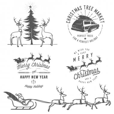PrintVintage Christmas labels, badges and design elements