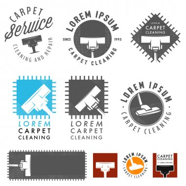 Set of retro carpet cleaning labels, emblems and design elements