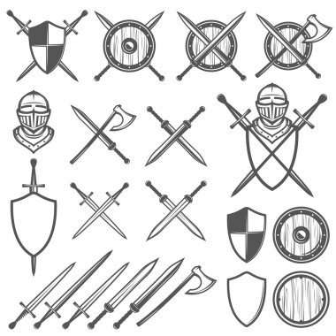 PrintSet of medieval swords, shields and design elements
