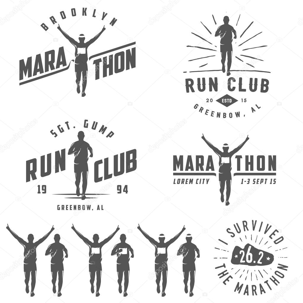 Set of vintage run club labels, emblems and design elements