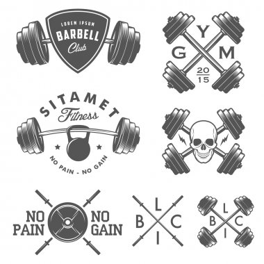 Set of vintage gym emblems, labels and design elements