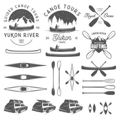 Set of kayak and canoe emblems, badges and design elements
