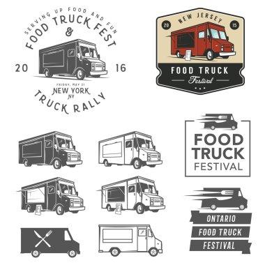 Set of food truck festival emblems, badges and design elements