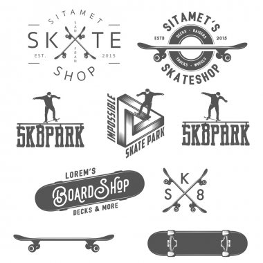 Set of skateboarding labels, badges and design elements stock vector