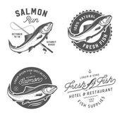 Vintage čerstvé ryby losos emblémy, odznaky a prvky návrhu