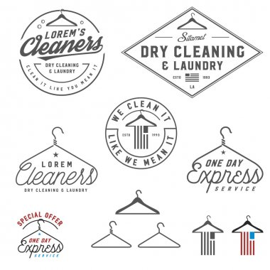 Vintage dry cleaning emblems, labels and design elements