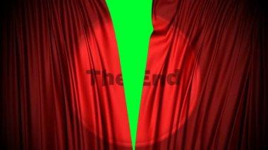 rode gordijnen sluiten met het einde geprojecteerd op het sluiten van een groen scherm