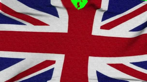 Uk flag material ripped apart transition with green screen and alpha