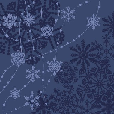 Blue vector snowflakes winter background icon