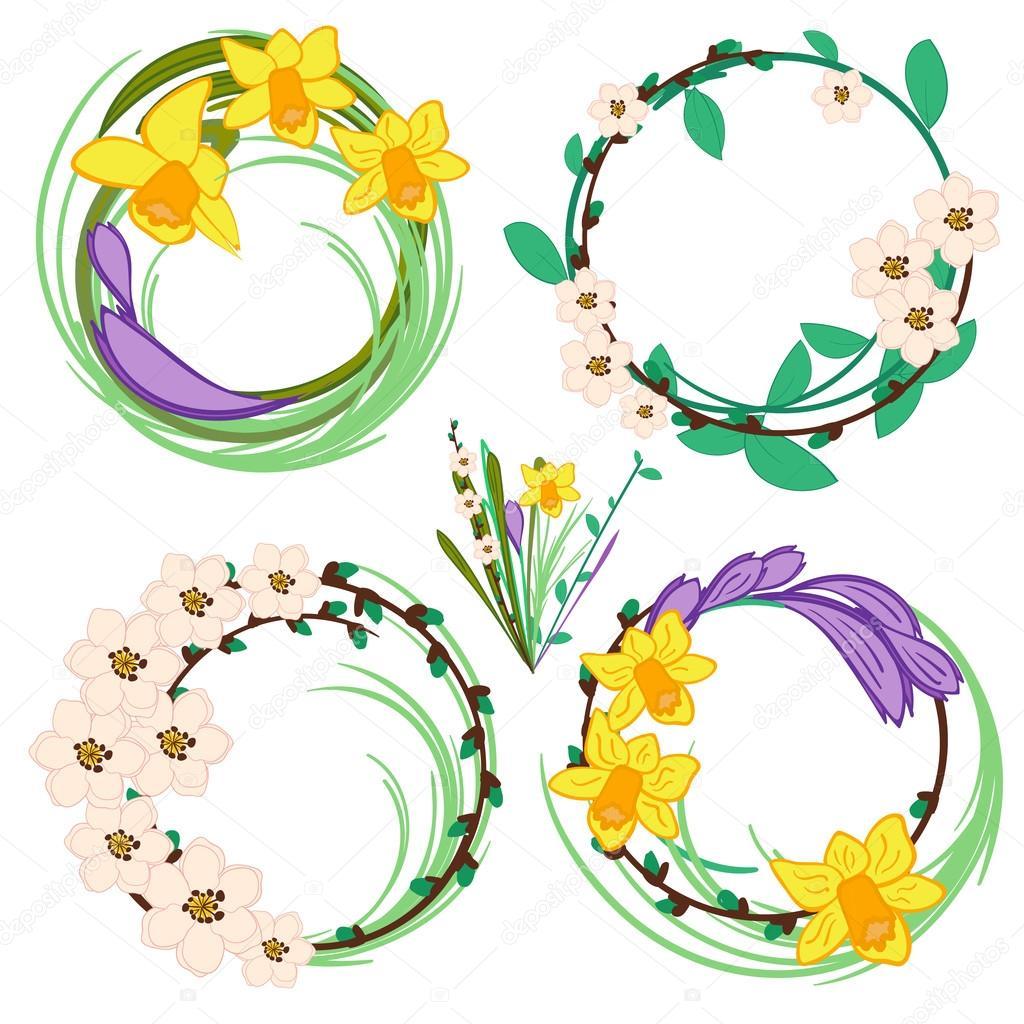 Set De Flores De Primavera De Dibujos Animados Vector Archivo