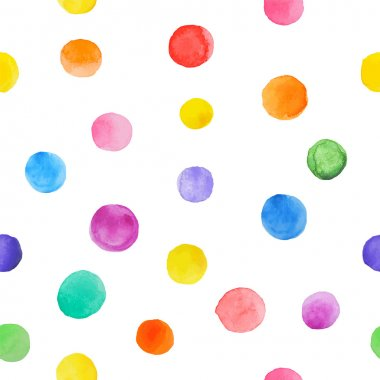 Colorful paint watercolor seamless pattern. Abstract vector seamless pattern. Watercolor polka dot.