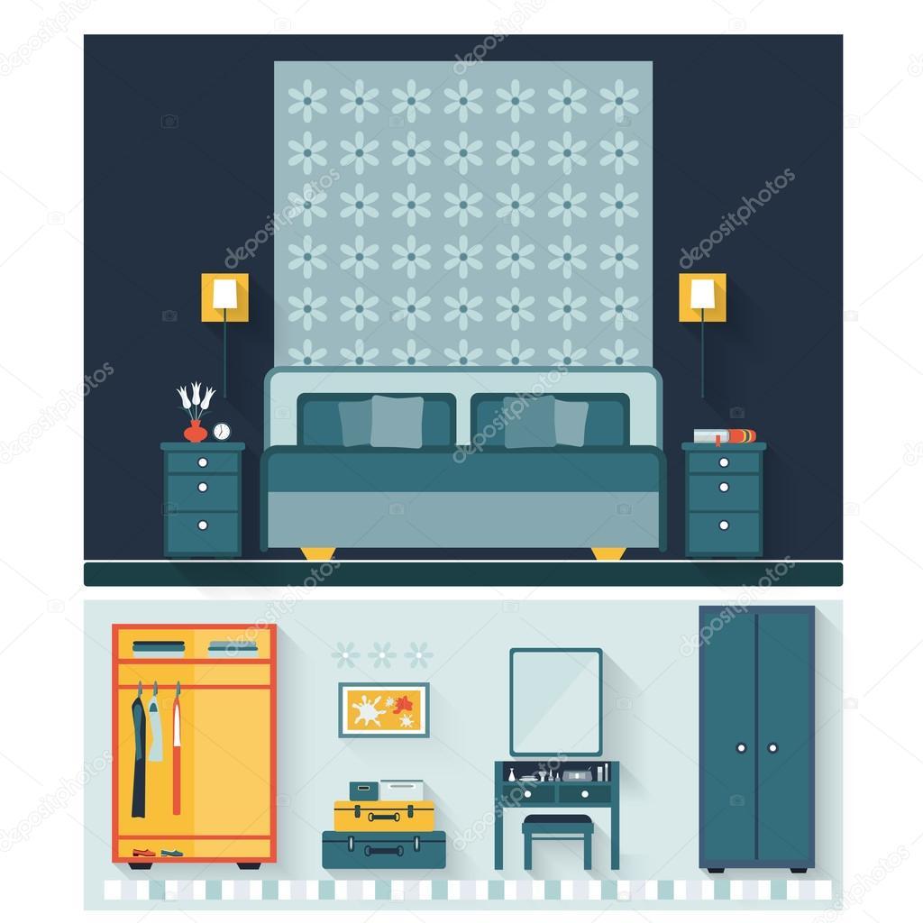 Slaapkamer met meubilair en vrouw boudoir met tabel, spiegel en ...