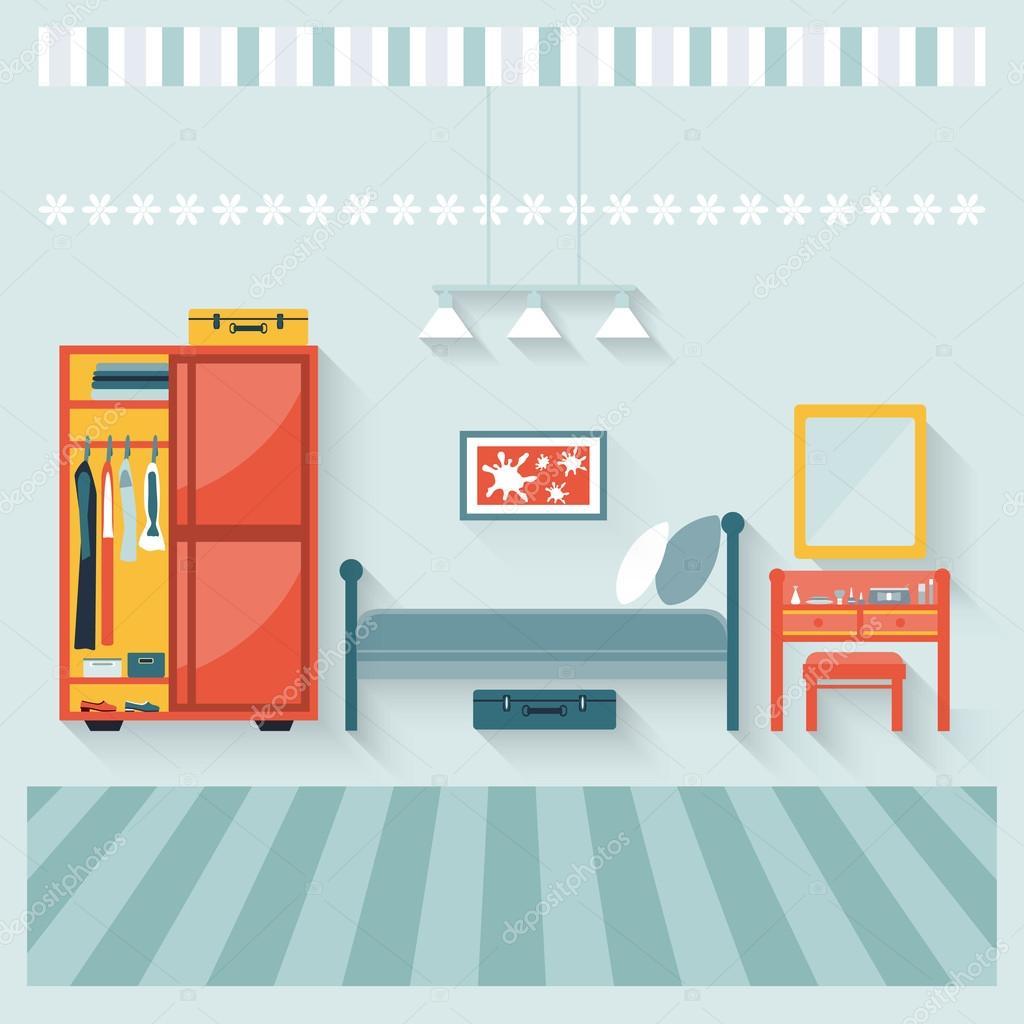 Slaapkamer met meubilair en boudoir — Stockvector © nata789 #87051094